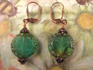 Fancy Czech Bead Coin and Copper Earrings
