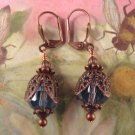 Sapphire Blue Fire Polished Bead and Copper Earrings