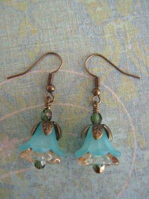 Turqoise Petunia Flower Earrings