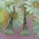 Hand Dyed Forest Green Trumpet Flower Earrings in Brass