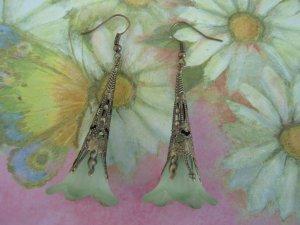 Hand Dyed Forest Green Trumpet Flower Earrings in Brass
