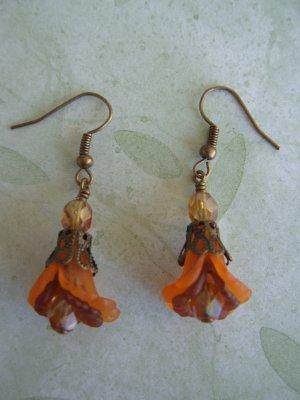 Honey Amber Double Ruffle Flower Earrings in Brass