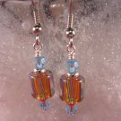 David Christensen Glass Earrings Topaz and Aquamarine