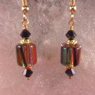 David Christensen Glass Earrings Black,Purple,Orange,Green
