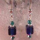 David Christensen Glass Earrings Navy Blue and Green