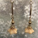 Antique Brass Trumpet Flower Earrings Beige