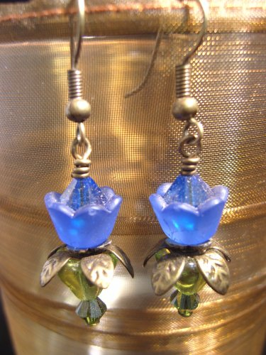 Cobalt Blue lovely Lucite Flower Earring