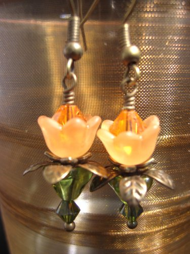 Orange lovely Lucite Flower Earring