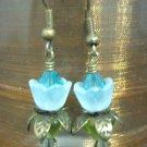 Blue Zircon lovely Lucite Flower Earring