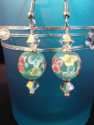 12mm Floral Lampwork Bead Earring