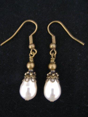 Vintage Swarovski White Pearl and Brass Earring