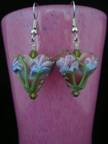 Lampwork Flower Puffed Heart Earring