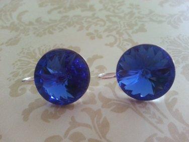 18mm Sapphire Swarovski Crystal Rivoli Silver Plate Fish Hook Earrings
