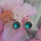 12mm Emerald Swarovski Crystal Rivoli Earrings  Gold Filled