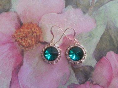 12mm Emerald Swarovski Crystal Rivoli Earrings  Gold Filled