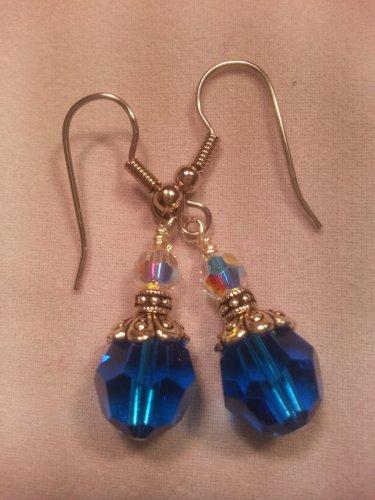 Cobalt Blue Round Swarovksi Crystal Dangle Earrings Surgical Steel-Handmade