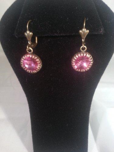 Rose Dangle Swarovski Crystal Earrings-Handmade