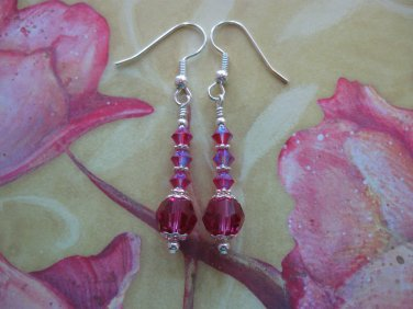 Fuchsia Swarovski Crystal Earrings Handmade