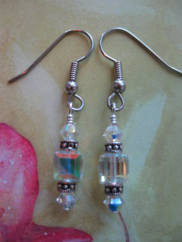 Swarovski Clear Crystal Cube Earrings Handmade