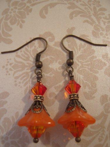 Vintage Orange Swarovski Crystal Dangle Earrings