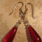 Ruby Red Czech Glass Dangle Earrings