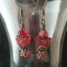 Vintage Siam Red Swarovski Crystal and Brass Earring