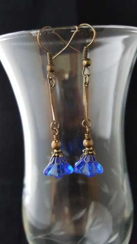 Antique Brass Cobalt Blue Long Dangle Earrings