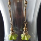Antique Brass Green Long Dangle Earrings