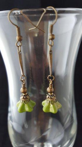 Antique Brass Green Long Dangle Earrings
