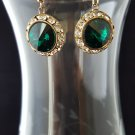 12mm Round Emerald Chaton Swarovski Crystal Earrings Gold Filled
