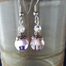 10mm Round Swarovski Crystal Antique Pink Earrings Silver