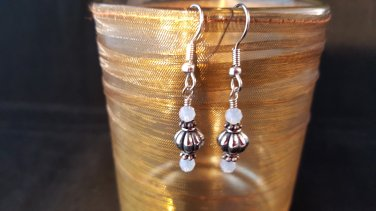 4mm Round White Opal and Pewter Earrings (additional Colors Available)