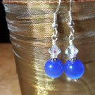 Blue Cats Eye and Swarovski Crystal Earrings