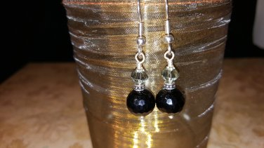 8mm Round Onyx and Swarovski Crystal Earrings