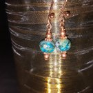 6mm Aqua Picasso Bead Earring in Copper