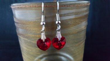 Swarovski Crystal Red Heart Earrings