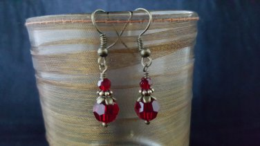 8mm Round Dark Siam Red Swarovski Crystal Earring