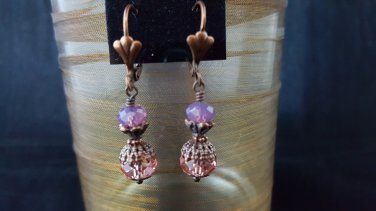 Padparadscha and Cyclamen Rondelle Swarovski Crystal Earring