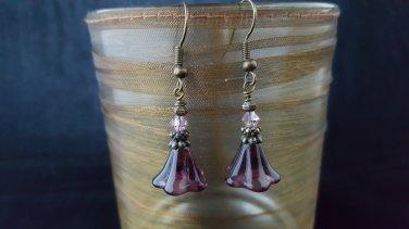 Purple Glass Flower Earring