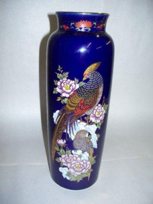 Kutani Pheasant Vase Cobalt Blue