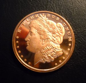 2011 MORGAN 1oz AVDP  .999 fine COPPER Coin