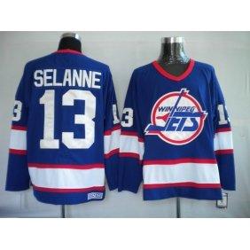 Vintage NHL Winnipeg Jets #13 TEEMU SELANNE blue Hockey Jerseys