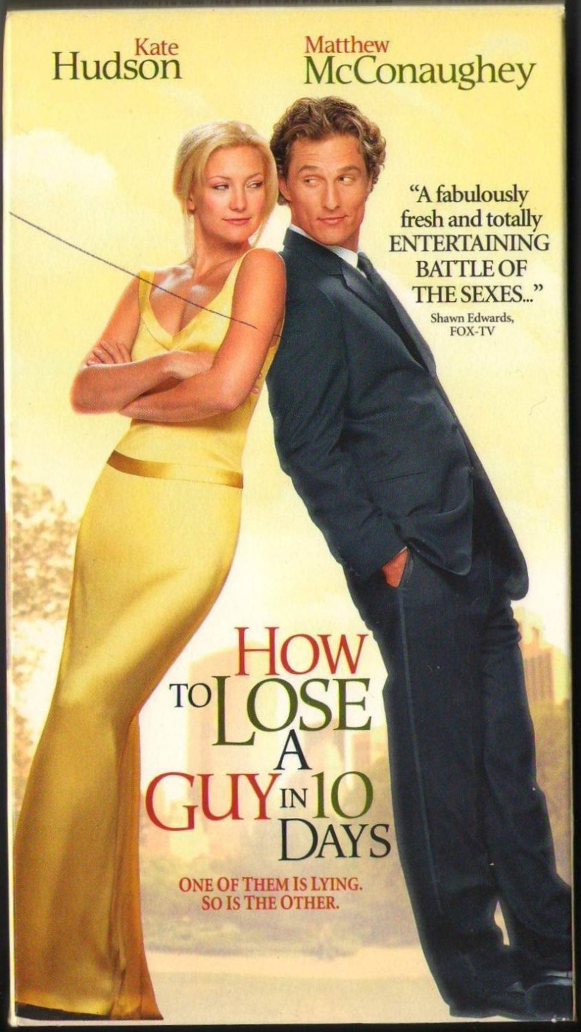 How To Lose A Guy In 10 Days Kate Hudson Matthew McConaughey VHS Tape 079219344X PG