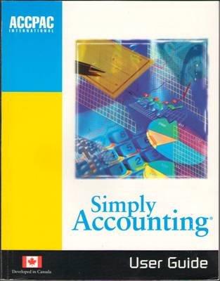 User Guide Simply Accounting ACCPAC International Version Book Microsoft Windows