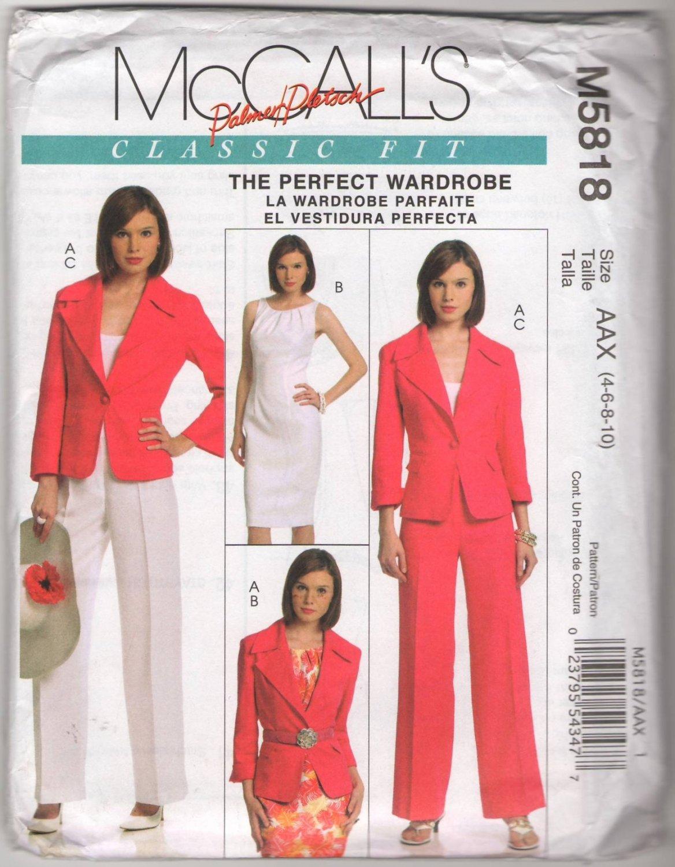 McCall's M5818 AAX Classic Fit Palmer Pletsch Jacket Dress Pants Size 4 6 8 10 Uncut Sewing Pattern