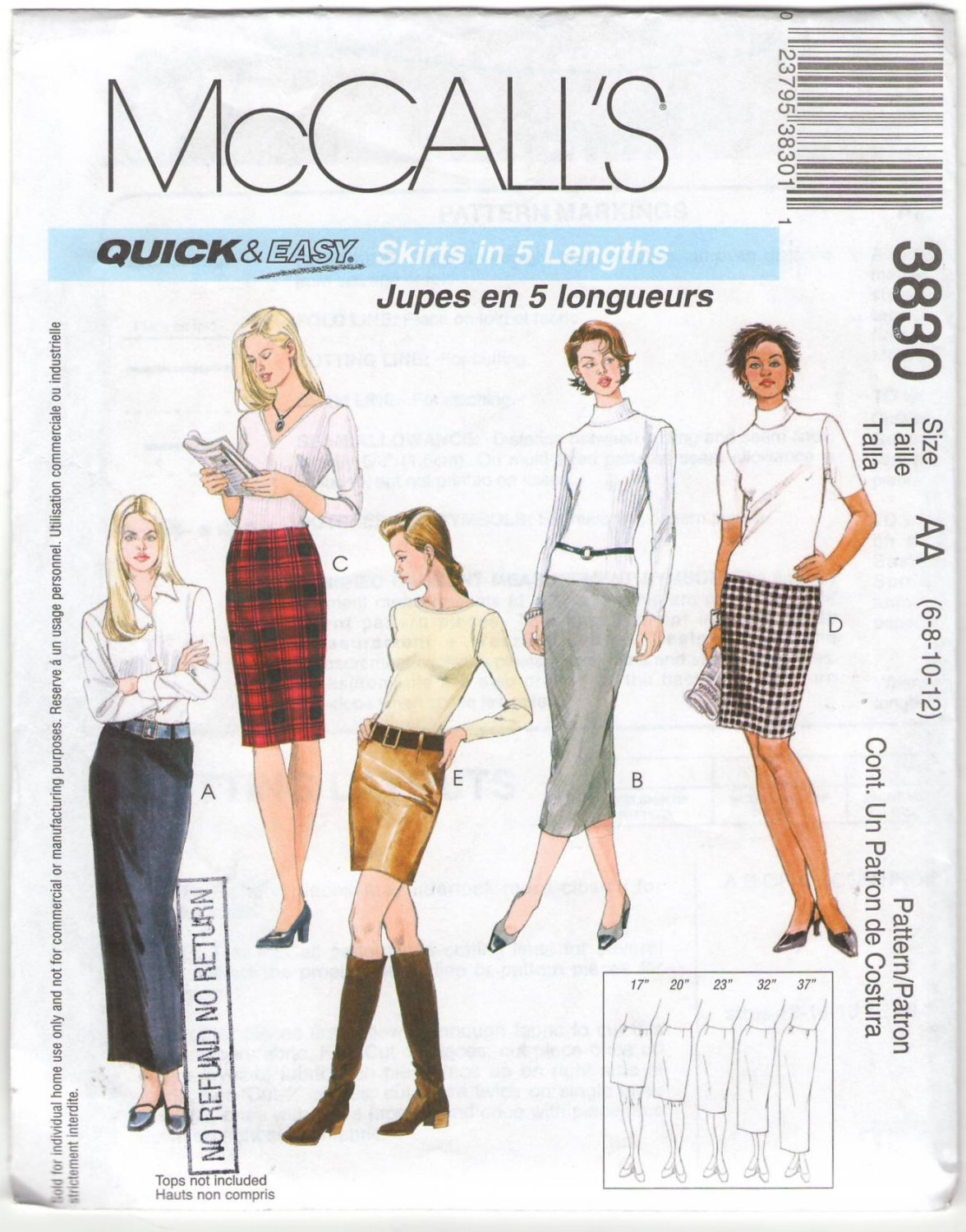McCall's 3830 Size AA 6 8 10 12 Skirts In 5 Lengths Long Short Quick and Easy Uncut Sewing Pattern