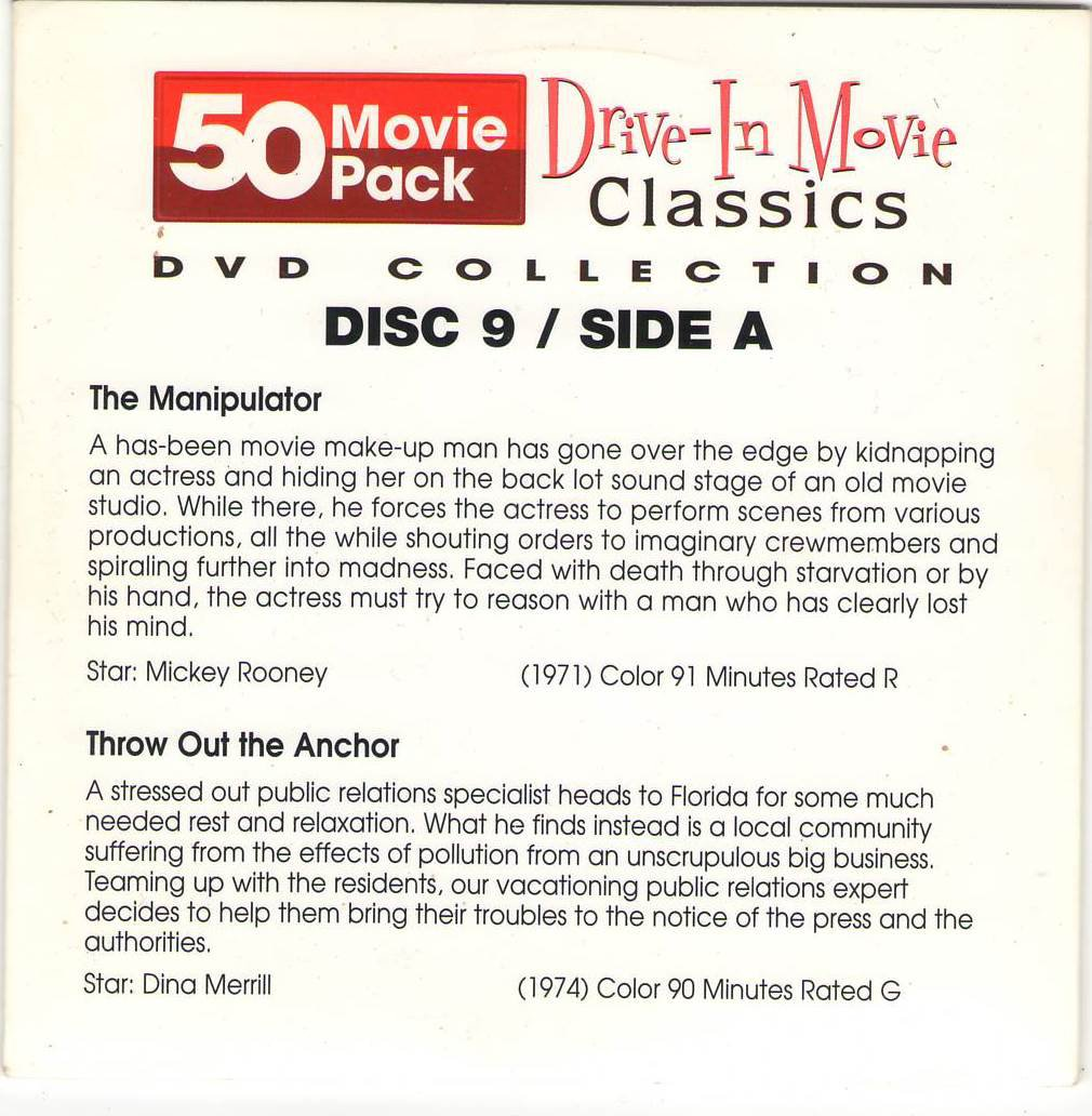 The Manipulator Throw Out The Anchor Night Train To Terror The Guy from Harlem DVD Movies Disc 9