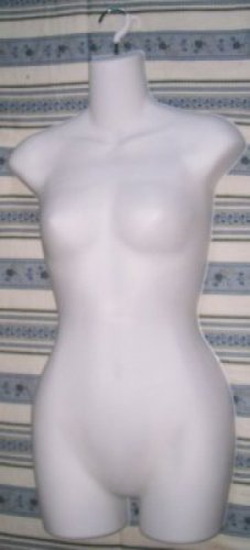 Mannequin White Plastic Female Half A Shell Full Woman Torso