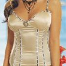 3 Piece Polka Dot Satin Bustier Set with Cameo Brooch