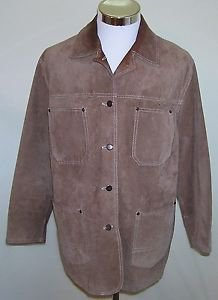 Genuine Brown Leather Women's Button Up Vintage Coat Jacket Size M/M Made Canada